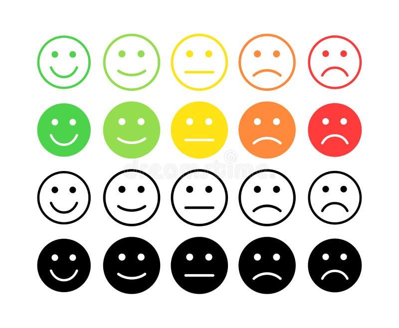 Conceito do vetor do feedback Grau, nível de avaliação de satisfação Terrível excelente, bom, normal, mau Feedback no formulário  ilustração stock