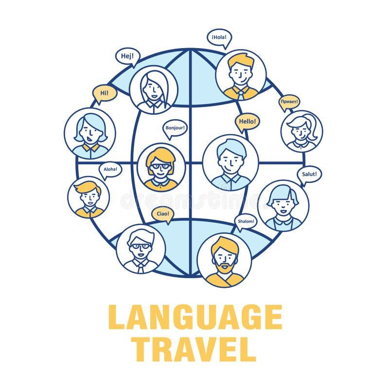 Conceito do vetor para a língua do turismo ilustração royalty free
