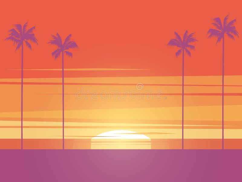 Conceito do vetor do por do sol da praia com palmeiras Símbolo das férias de verão, férias, recreação, abrandamento Seascape e ilustração royalty free