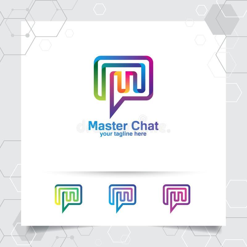 Conceito do vetor do projeto do logotipo do bate-papo da letra m e do estilo colorido Os meios conversam o vetor do logotipo para ilustração stock