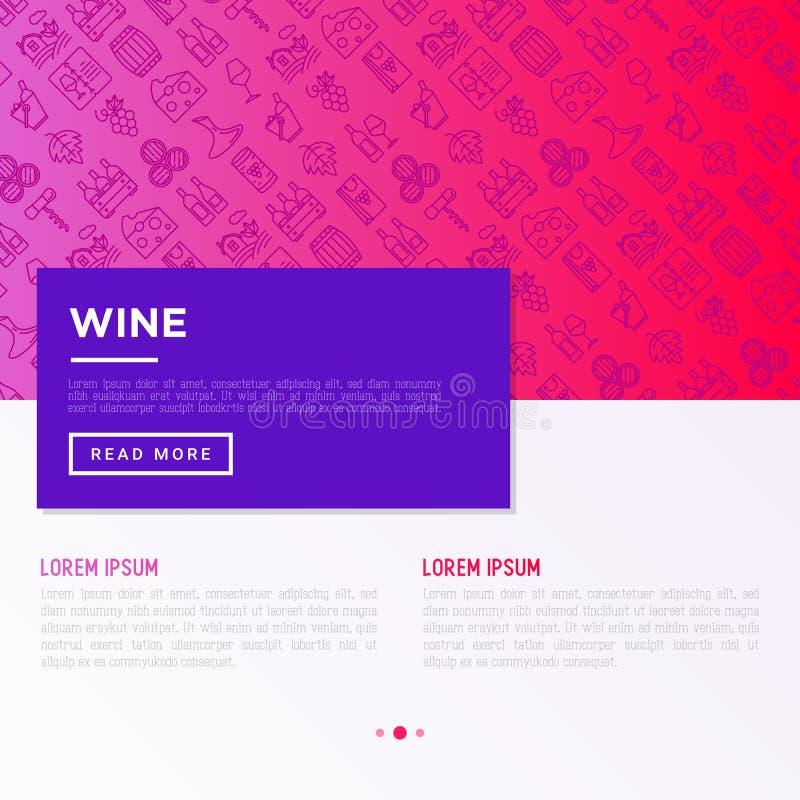 Conceito do vinho com linha fina ícones: corkscrew, vidro de vinho, cortiça, uvas, tambor, lista, filtro, queijo, vinhedo, cubeta ilustração stock