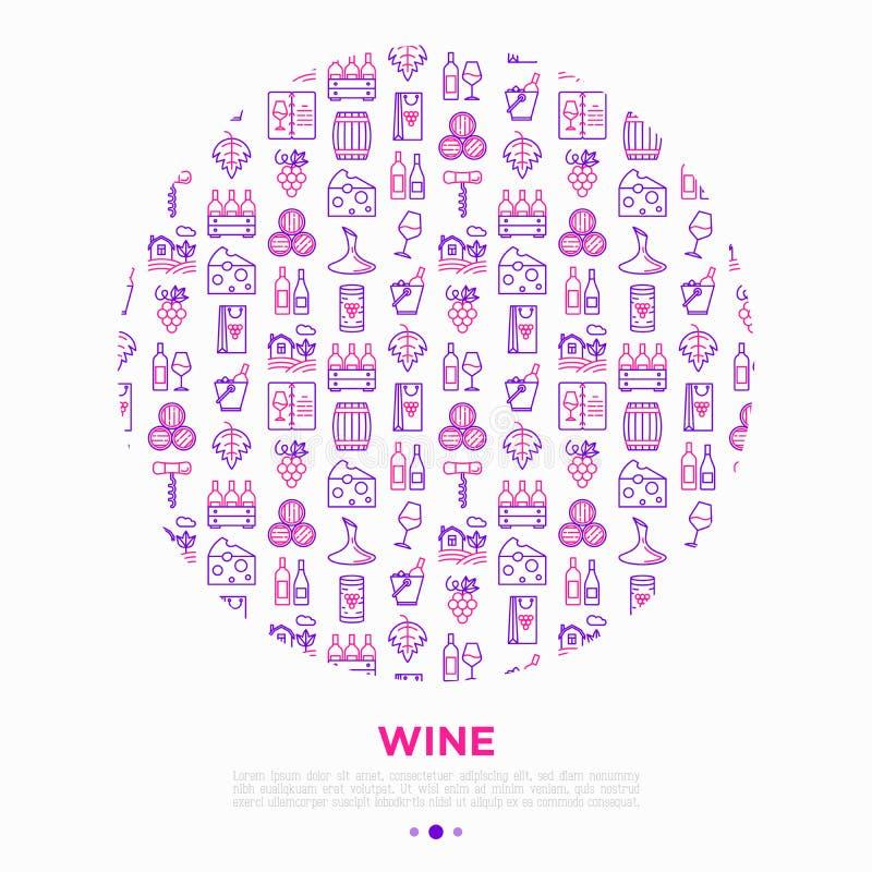 Conceito do vinho no círculo com linha fina ícones: corkscrew, vidro de vinho, cortiça, uvas, tambor, lista, filtro, queijo, vinh ilustração stock
