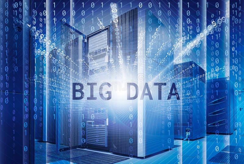 Conceito do visualização grande dos dados com os super-computadores modernos dos graus no centro de dados computacional ilustração royalty free