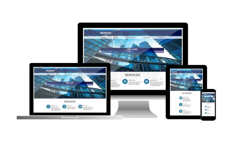 Conceito do Web site no telefone da tabuleta do portátil do computador imagem de stock
