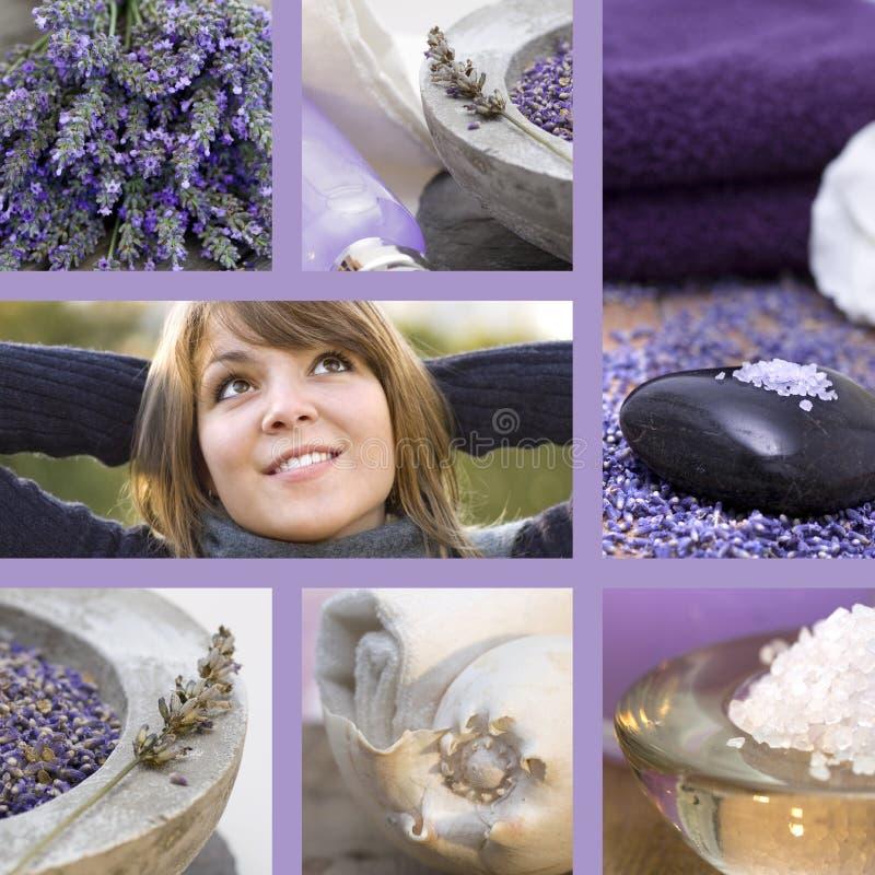 Conceito do wellness da colagem com alfazema foto de stock royalty free