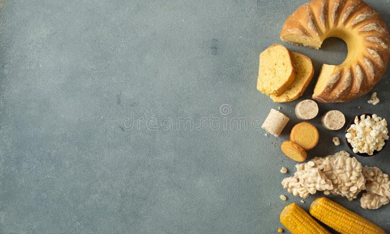 Conceito doce do alimento de Festa Junina Copyspace, vista superior fotos de stock royalty free