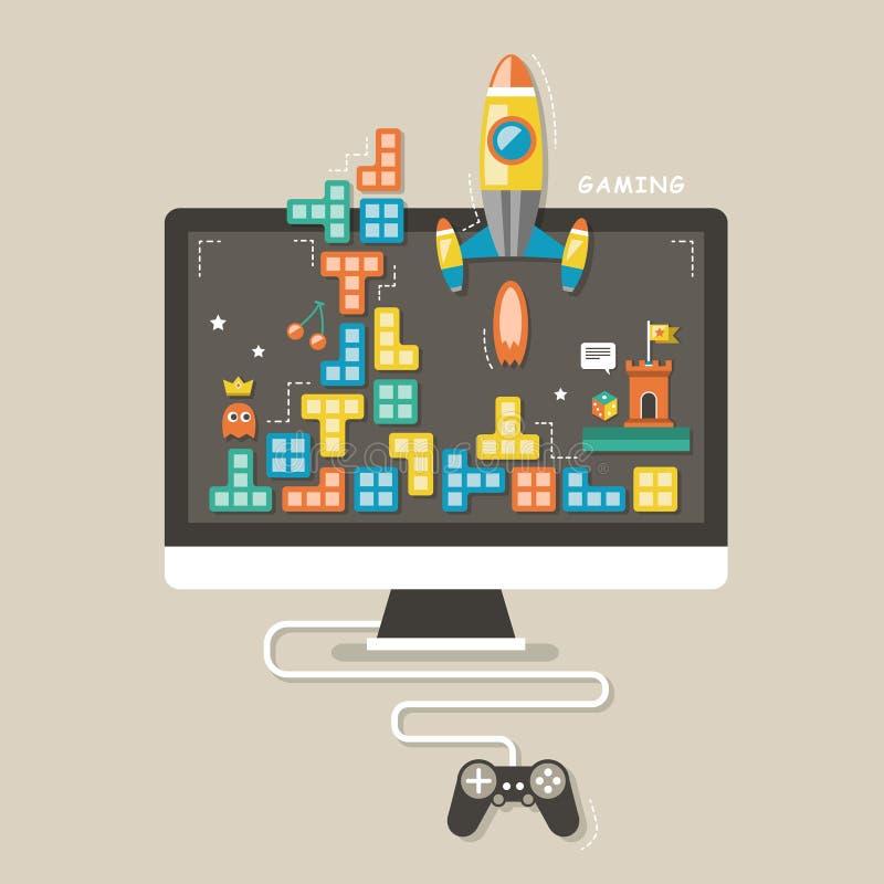 Conceito dos ícones de jogos de computador ilustração stock