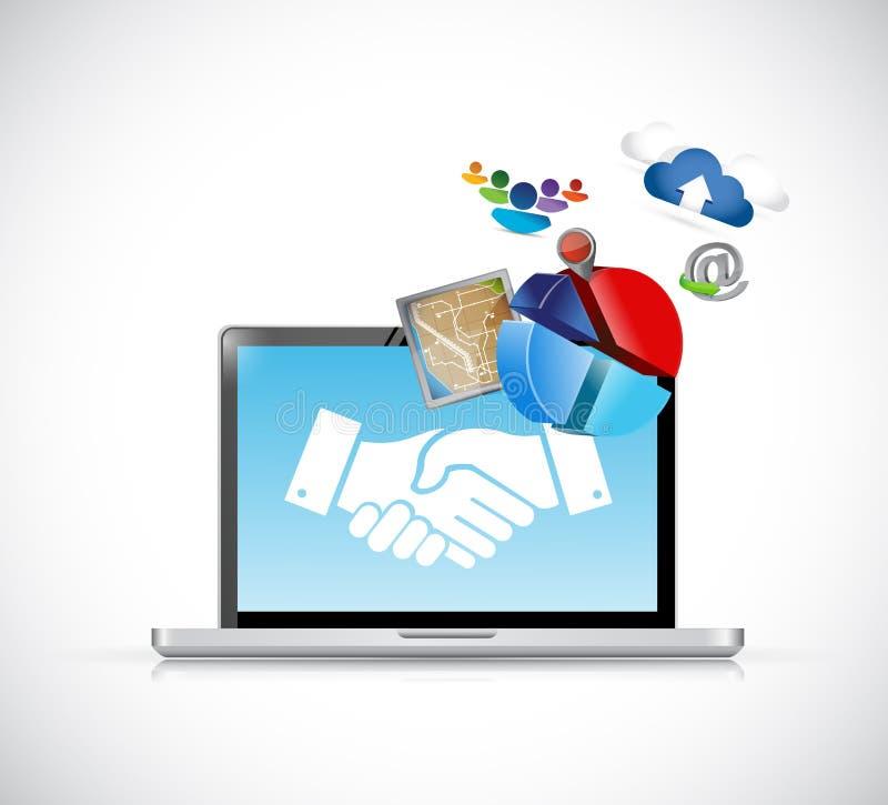 conceito dos ícones do aperto de mão do acordo do negócio ilustração stock