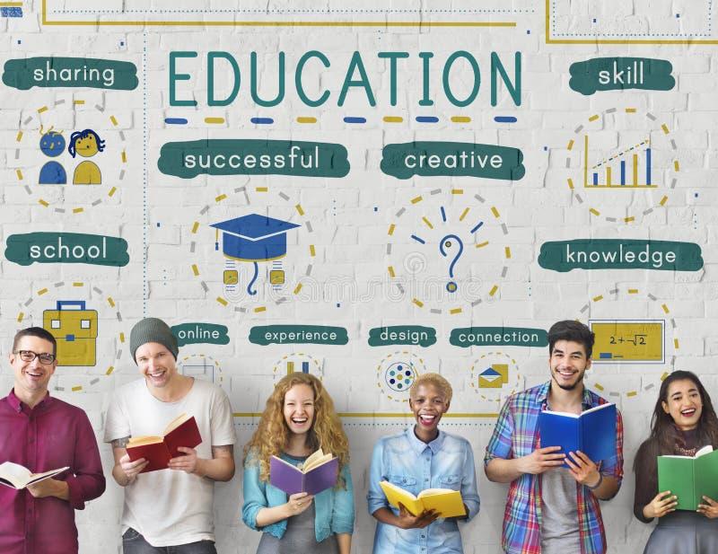 Conceito dos ícones do estudo do conhecimento da educação imagens de stock