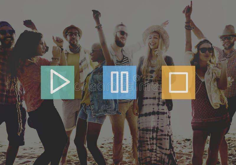 Conceito dos ícones do símbolo da parada da pausa do jogo do controle dos botões audio ilustração royalty free