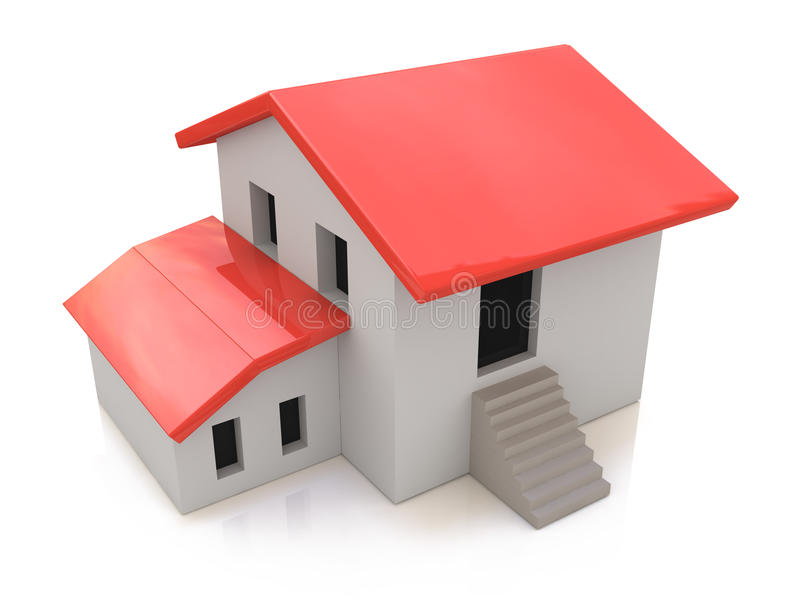 Conceito 6 dos bens imobiliários casa 3d em um fundo branco ilustração do vetor