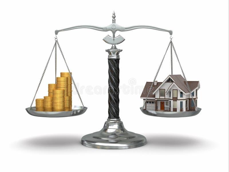Conceito dos bens imobiliários. Casa e dinheiro na escala. ilustração do vetor
