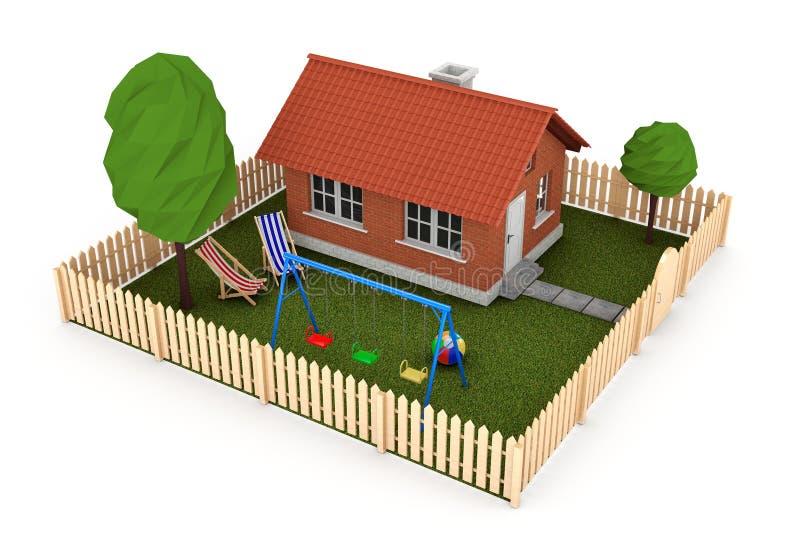 Conceito 6 dos bens imobiliários Casa pequena com cerca e jardim rende 3D ilustração royalty free