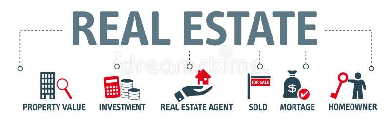 Conceito dos bens imobiliários da bandeira - ilustração com ícones ilustração do vetor