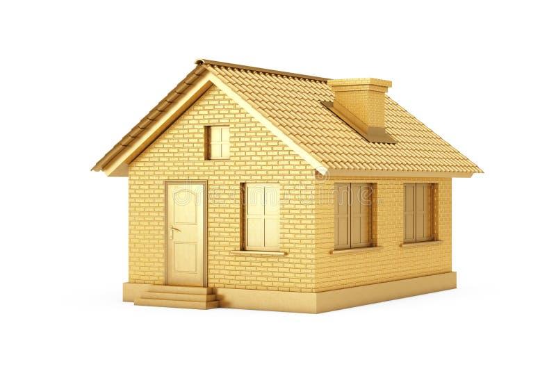 Conceito 6 dos bens imobili?rios Casa dourada rendi??o 3d ilustração stock