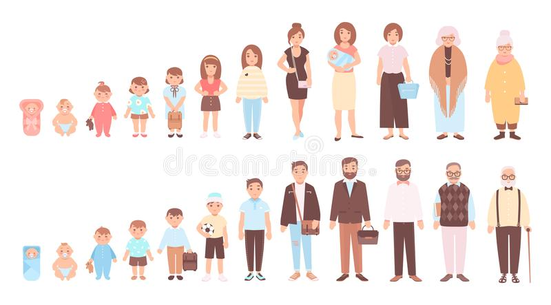Conceito dos ciclos de vida do homem e da mulher Visualização das fases do crescimento do corpo humano, do desenvolvimento e do e ilustração stock