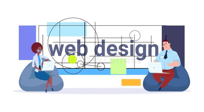 Conceito dos colaboradores do projeto gráfico do projeto do negócio de Team Working And Programming Modern dos desenhistas da Web ilustração do vetor