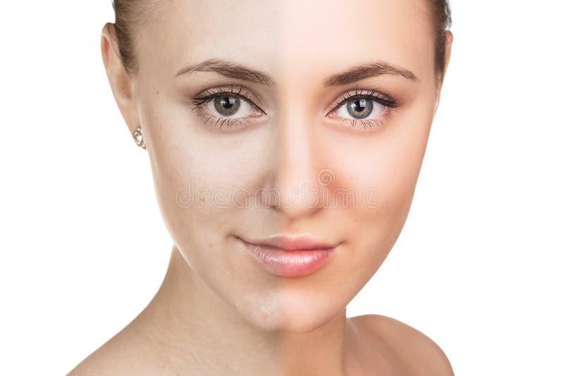 Conceito dos cuidados com a pele da jovem mulher imagens de stock royalty free