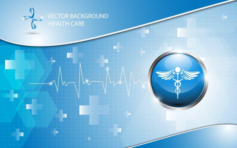 Conceito dos cuidados médicos do logotipo do fundo do vetor ilustração stock
