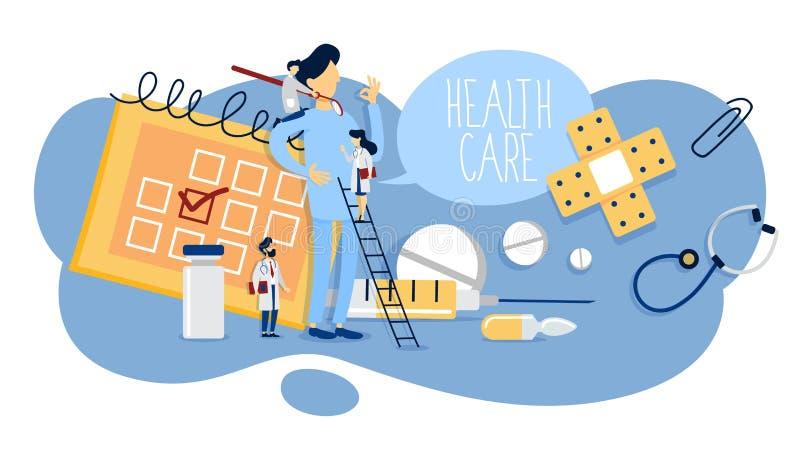 Conceito dos cuidados médicos Ideia da consulta do doutor e do tratamento médico ilustração do vetor