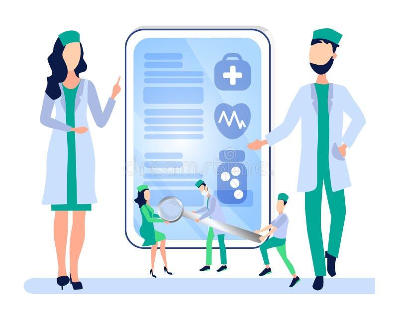 Conceito dos cuidados médicos A reunião, um Conselho dos doutores, discute o diagnóstico, desenvolve um método de tratamento ilustração stock