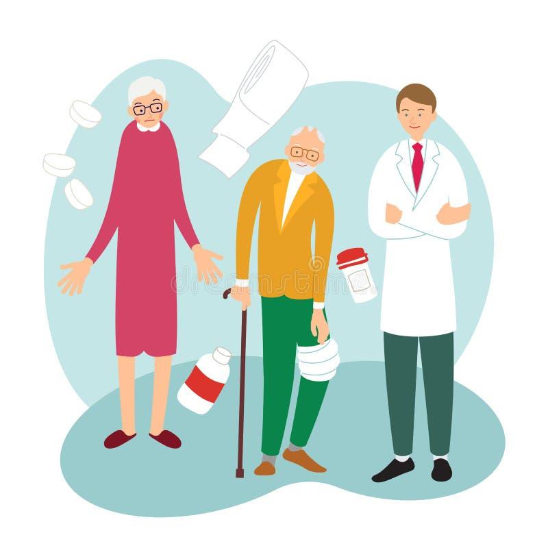 Conceito dos cuidados m?dicos Controle m?dico Um homem idoso com o braço doente na recepção no doutor praticando A família veio v ilustração stock
