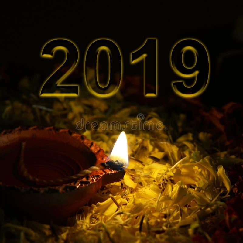 Conceito dos cumprimentos do ano novo 2019 da boa vinda imagens de stock