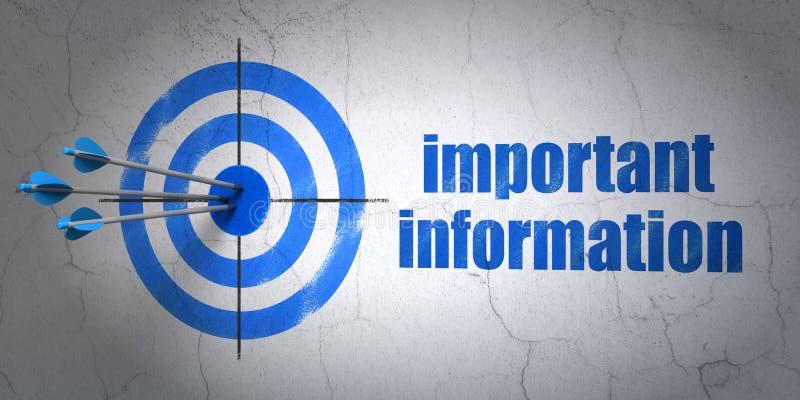Conceito dos dados: alvo e informação importante no fundo da parede ilustração royalty free