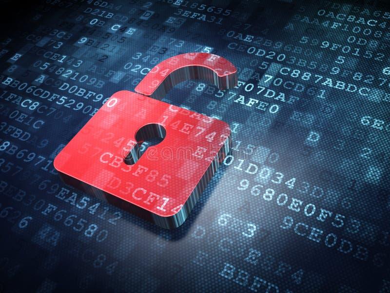 Conceito dos dados: Cadeado aberto vermelho em digital