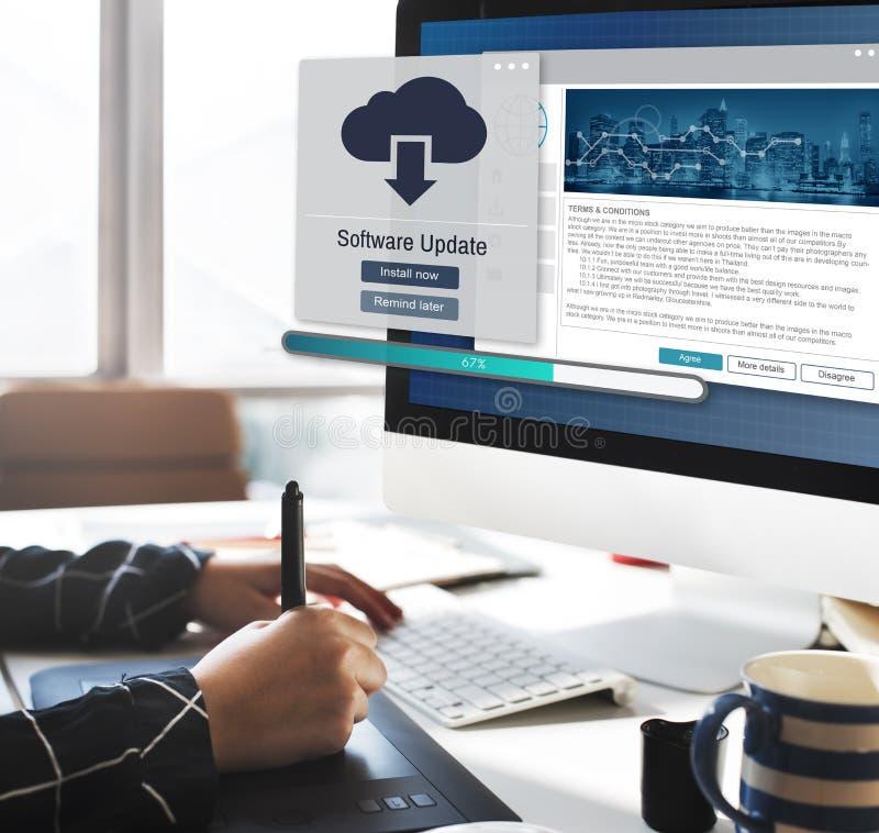 Conceito dos dados da elevação da instalação da atualização de software imagem de stock