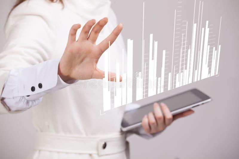 Conceito dos dados da finança Mulher que trabalha com analítica Informação do gráfico da carta na tela digital foto de stock