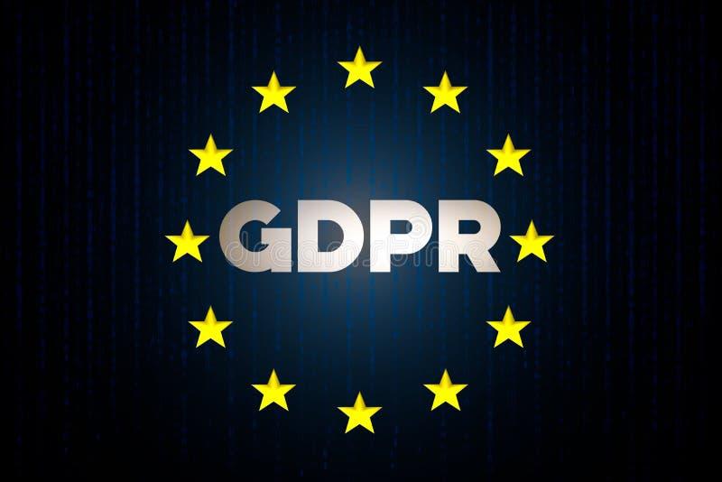 Conceito dos dados da segurança do cyber de GDPR com a bandeira da estrela de Europa com matriz em um fundo azul foto de stock