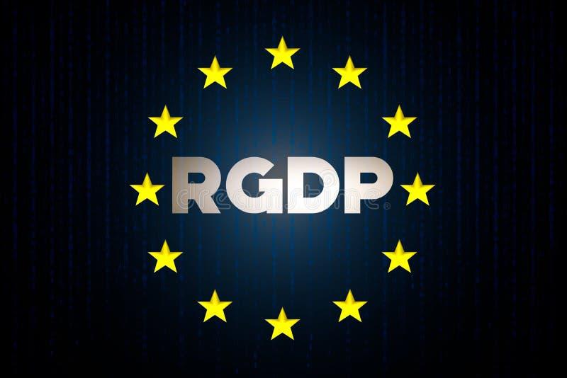 Conceito dos dados da segurança do cyber de RGDP com a bandeira da estrela de Europa com matriz em um fundo azul imagens de stock royalty free