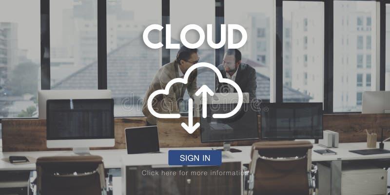 Conceito dos dados da tecnologia de armazenamento da rede de computação da nuvem imagens de stock royalty free