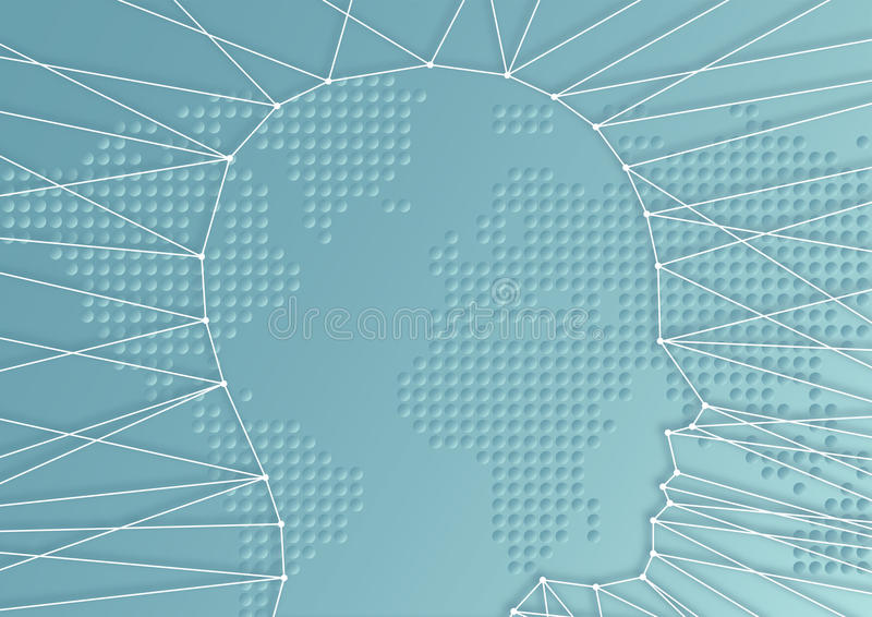 Conceito dos desafios para seres humanos em um mundo da globalização ilustração stock
