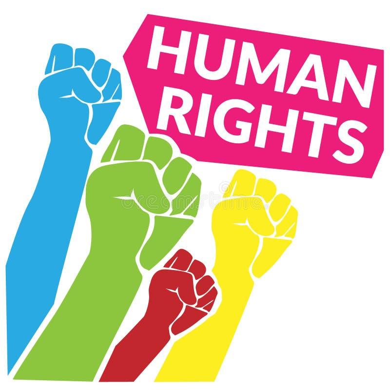 Conceito dos direitos humanos colorido do aumento humano da mão do punho até o céu com citações etiquete direitos humanos Ilustra ilustração royalty free