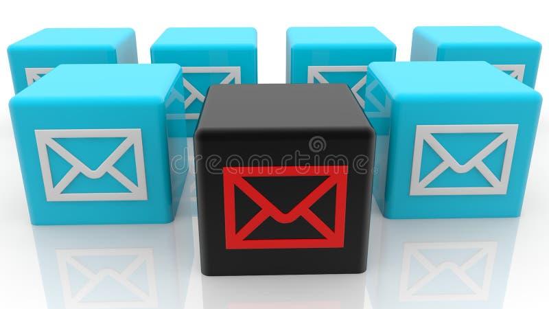 Conceito dos envelopes em cubos do brinquedo na cor azul e preta ilustração stock