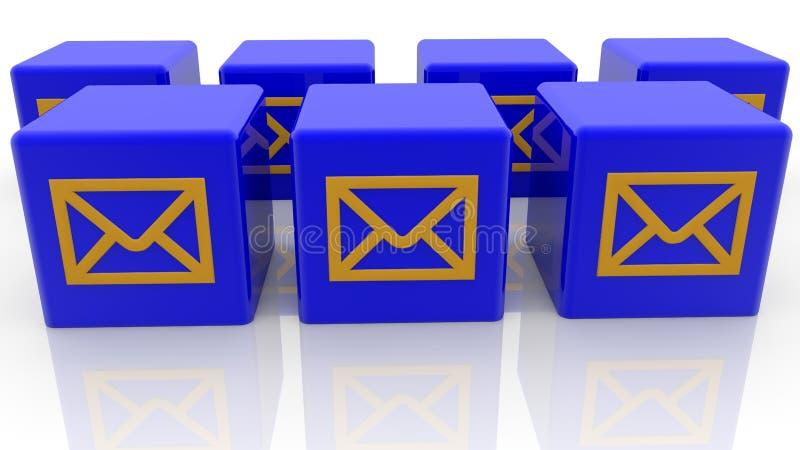 Conceito dos envelopes em cubos do brinquedo na cor azul ilustração do vetor