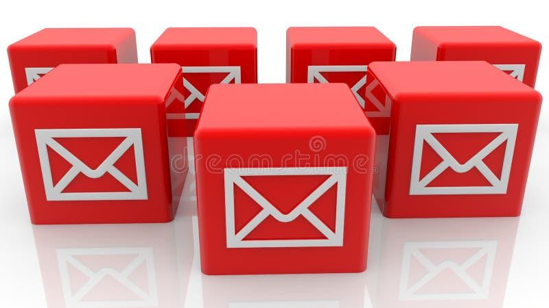 Conceito dos envelopes em cubos do brinquedo na cor vermelha ilustração stock