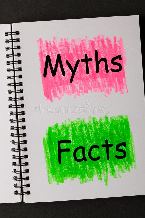 Conceito dos fatos dos mitos fotografia de stock royalty free