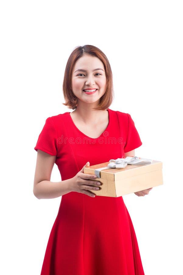 Conceito dos feriados, do amor e da felicidade Menina asiática bonita com foto de stock