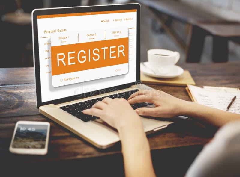 Conceito dos gráficos do formulário de inscrição da candidatura online fotografia de stock