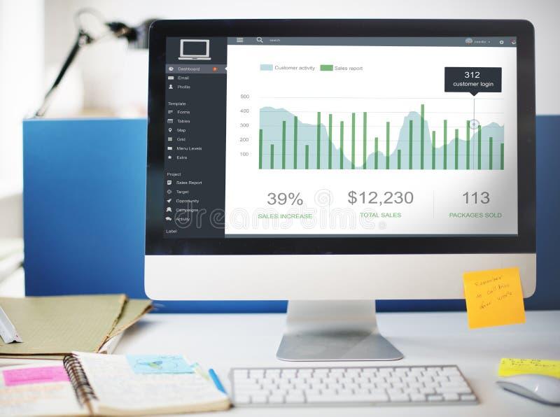Conceito dos gráficos do painel das vendas do mercado do cliente fotos de stock