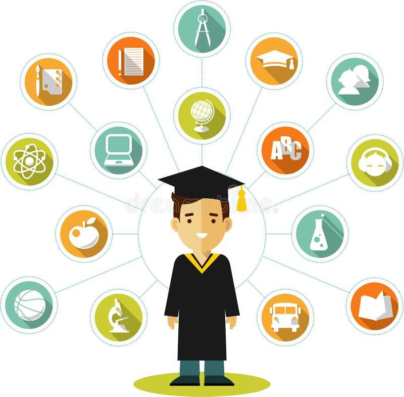 Conceito dos graduados com povos e ícones da educação ilustração royalty free