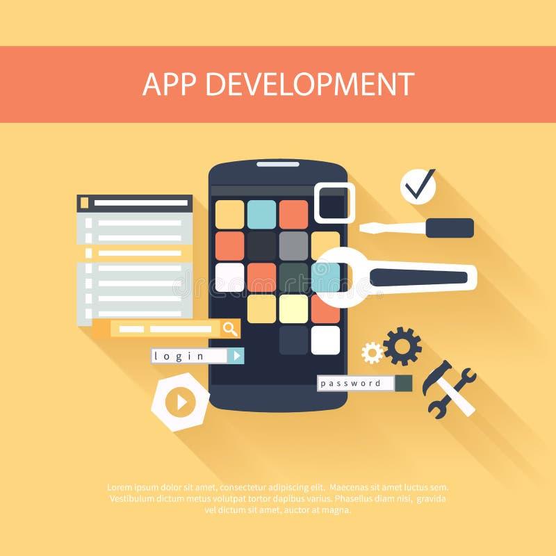 Conceito dos instrumentos do desenvolvimento do App ilustração royalty free