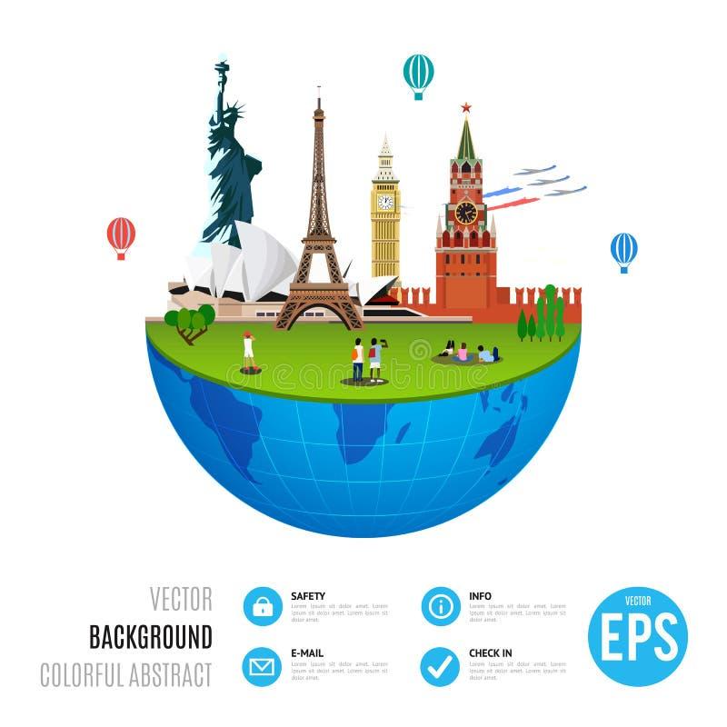 Conceito dos marcos do mundo no fundo branco Ilustração do vetor para o projeto do curso ilustração do vetor