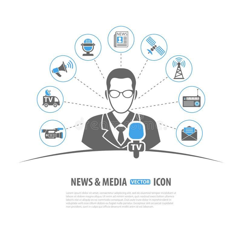 Conceito dos meios e da notícia ilustração do vetor