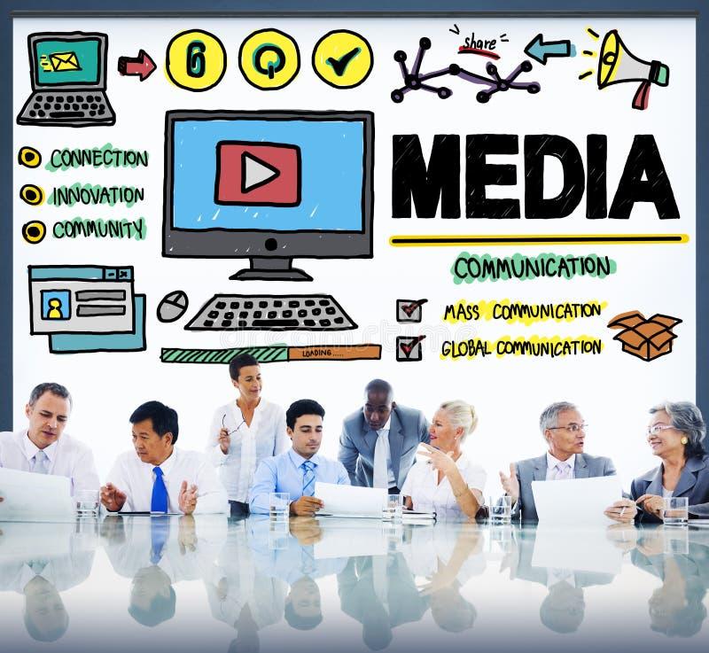 Conceito dos multimédios de uma comunicação da confusão dos dispositivos dos meios imagem de stock royalty free
