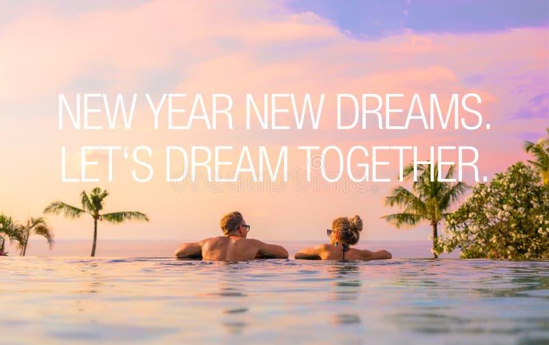 Conceito dos pares que sonham junto no ano novo foto de stock