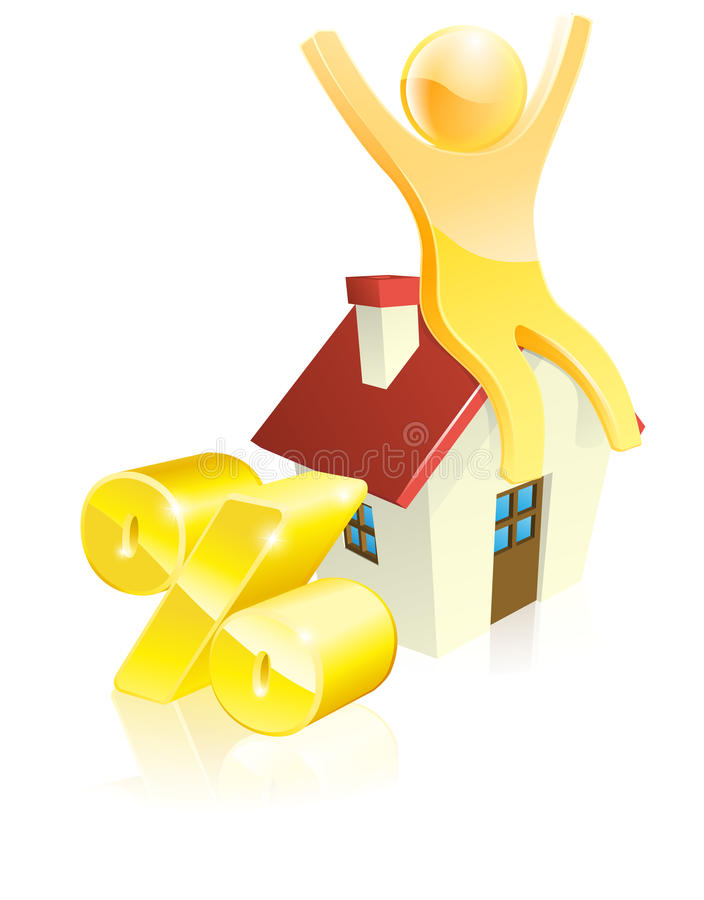 Conceito dos por cento da casa da mascote ilustração royalty free